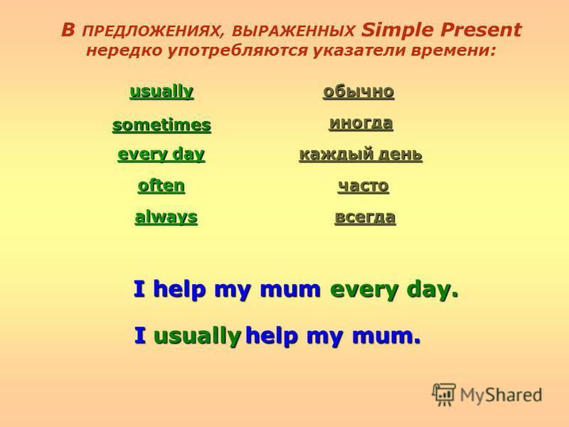 В ПРЕДЛОЖЕНИЯХ, ВЫРАЖЕННЫХ Simple Present нередко употребляются указатели времени: usually sometimes every day often always обычно иногда каждый день часто всегда I help my mum every day. I help my mum. usually