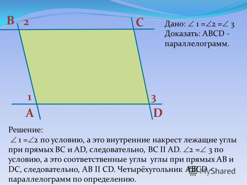 А В С D 13 2 Дано: 1 = 2 = 3 Доказать: ABCD - параллелограмм. Решение: 1 = 2 по условию, а это внутренние накрест лежащие углы при прямых ВС и АD, следовательно, ВС II АD. 2 = 3 по условию, а это соответственные углы углы при прямых АВ и DC, следоват
