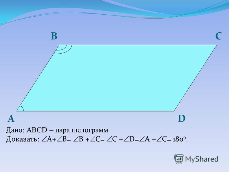 А B D C Дано: АBCD – параллелограмм Доказать: A+ B= B + С= C + D= A + С= 180 0.
