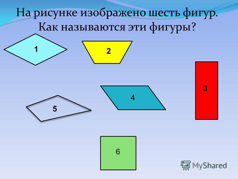 2 3 1 6 5 4 На рисунке изображено шесть фигур. Как называются эти фигуры?