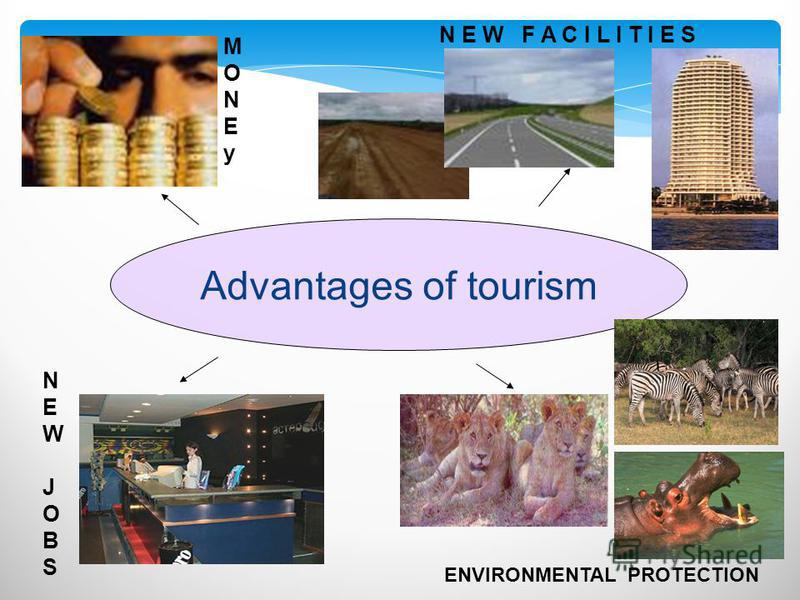 Advantages of tourism MONEyMONEy NEWJOBSNEWJOBS N E W F A C I L I T I E S ENVIRONMENTAL PROTECTION