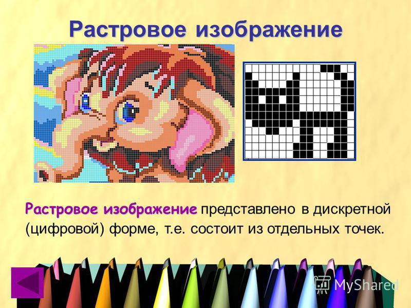 Растровое изображение Растровое изображение Растровое изображение представлено в дискретной (цифровой) форме, т.е. состоит из отдельных точек.