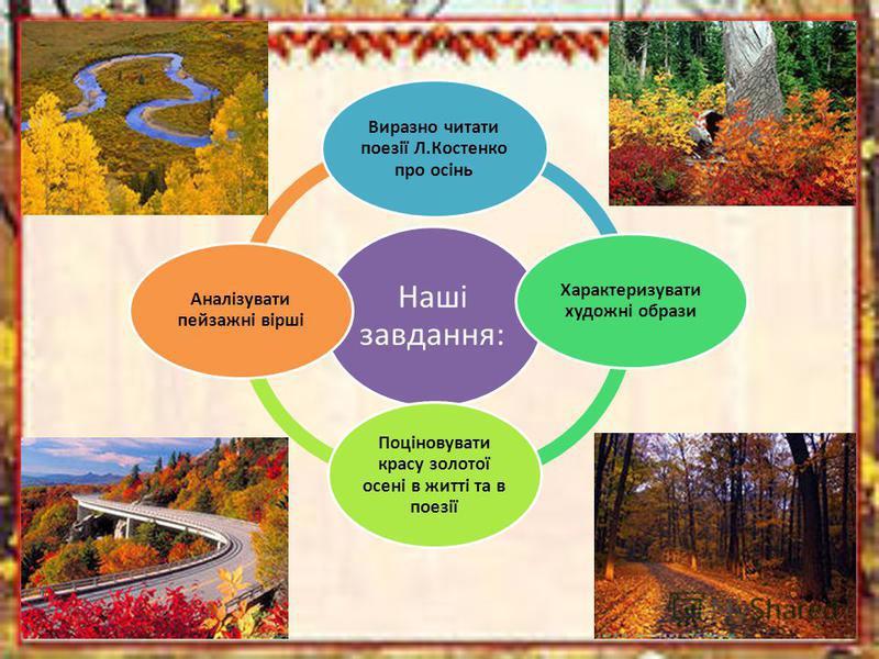 Наші завдання: Виразно читати поезії Л.Костенко про осінь Характеризувати художні образи Поціновувати красу золотої осені в житті та в поезії Аналізувати пейзажні вірші