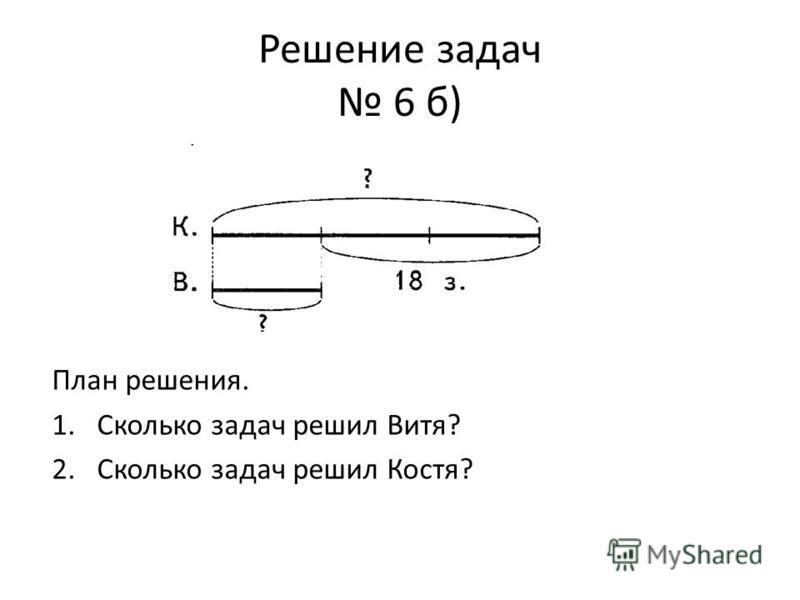 Решение задач 6 б) План решения. 1. Сколько задач решил Витя? 2. Сколько задач решил Костя?