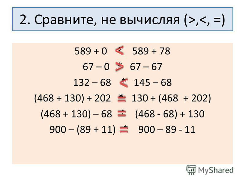 2. Сравните, не вычисляя (>,<, =) 589 + 0 * 589 + 78 67 – 0 * 67 – 67 132 – 68 * 145 – 68 (468 + 130) + 202 * 130 + (468 + 202) (468 + 130) – 68 * (468 - 68) + 130 900 – (89 + 11) * 900 – 89 - 11