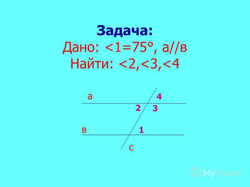Задача: Дано: <1=75°, а//в Найти: <2,<3,<4 а в с 4 2 3 1