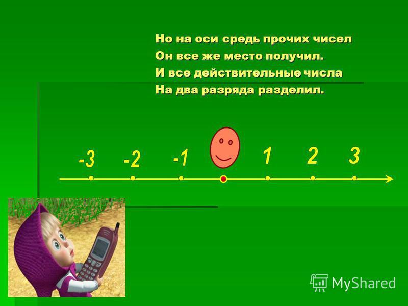Но на оси средь прочих чисел Он все же место получил. И все действительные числа На два разряда разделил.