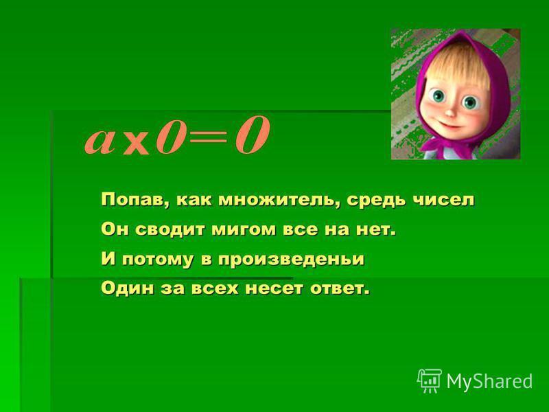 Попав, как множитель, средь чисел Он сводит мигом все на нет. И потому в произведении Один за всех несет ответ.