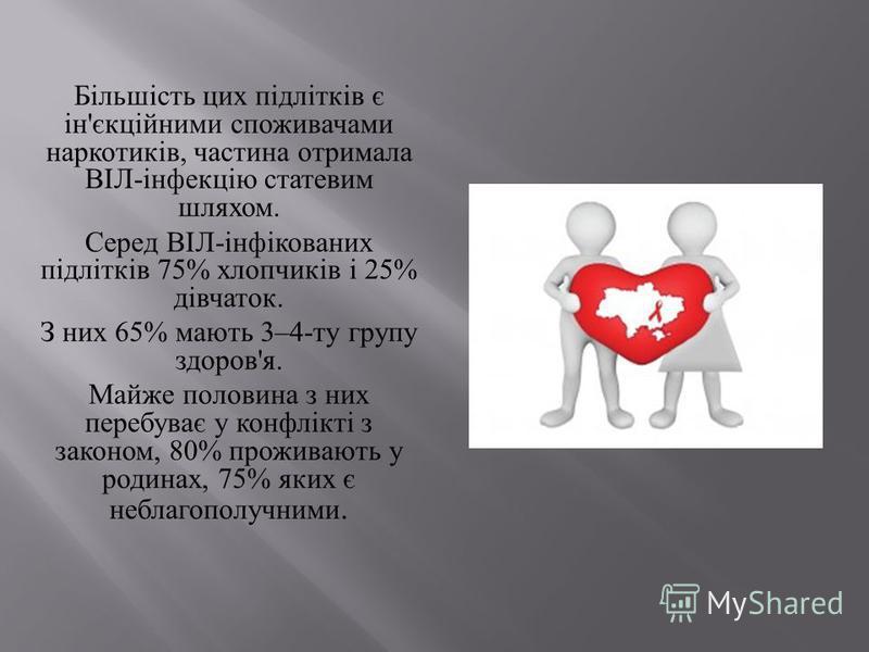 Більшість цих підлітків є ін ' єкційними споживачами наркотиків, частина отримала ВІЛ - інфекцію статевим шляхом. Серед ВІЛ - інфікованих підлітків 75% хлопчиків і 25% дівчаток. З них 65% мають 3–4- ту групу здоров ' я. Майже половина з них перебуває