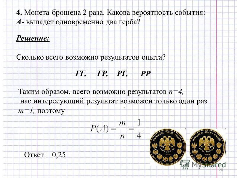 20 4. Монета брошена 2 раза. Какова вероятность события: А- выпадет одновременно два герба? Решение: Сколько всего возможно результатов опыта? Таким образом, всего возможно результатов n=4, нас интересующий результат возможен только один раз m=1, поэ