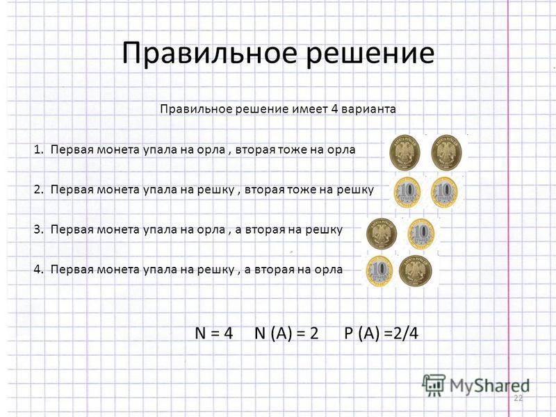 22 Правильное решение Правильное решение имеет 4 варианта 1. Первая монета упала на орла, вторая тоже на орла 2. Первая монета упала на решку, вторая тоже на решку 3. Первая монета упала на орла, а вторая на решку 4. Первая монета упала на решку, а в