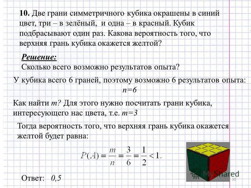 30 10. Две грани симметричного кубика окрашены в синий цвет, три – в зелёный, и одна – в красный. Кубик подбрасывают один раз. Какова вероятность того, что верхняя грань кубика окажется желтой? Решение: Сколько всего возможно результатов опыта? У куб