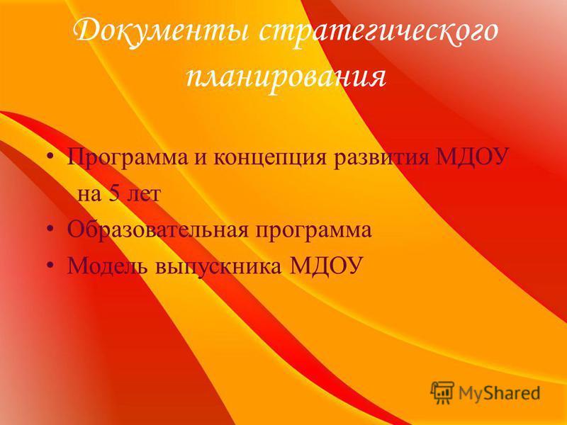 Документы стратегического планирования Программа и концепция развития МДОУ на 5 лет Образовательная программа Модель выпускника МДОУ