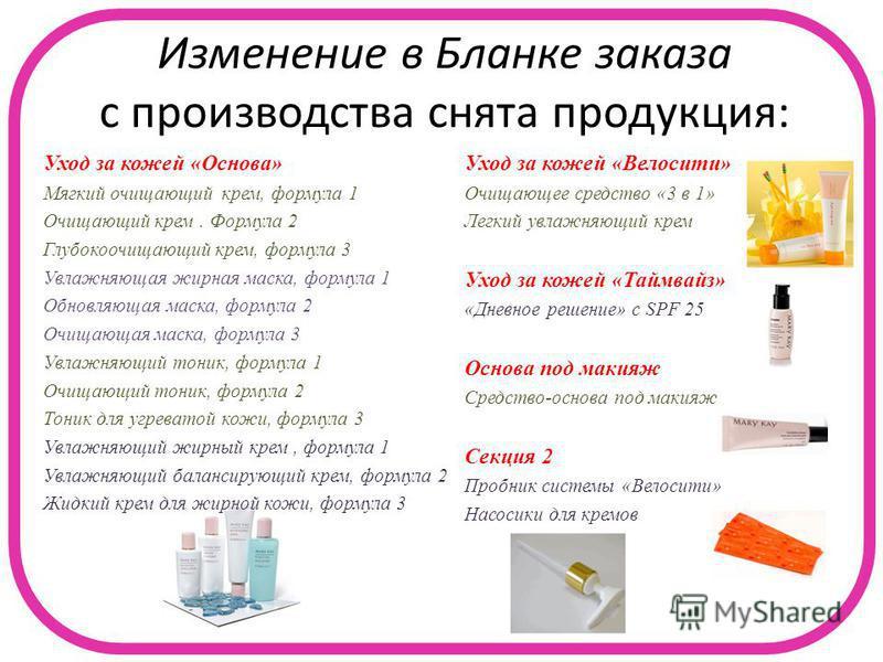 Изменение в Бланке заказа с производства снята продукция: Уход за кожей «Основа» Мягкий очищающий крем, формула 1 Очищающий крем. Формула 2 Глубокоочищающий крем, формула 3 Увлажняющая жирная маска, формула 1 Обновляющая маска, формула 2 Очищающая ма