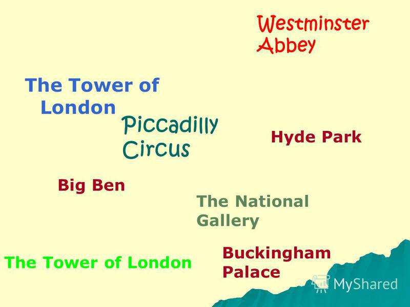 The Tower of London Westminster Abbey Buckingham Palace The National Gallery Big Ben Hyde Park The Tower of London Piccadilly Circus