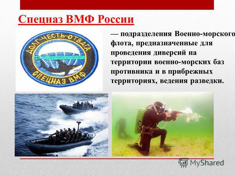 Спецназ ВМФ России подразделения Военно-морского флота, предназначенные для проведения диверсий на территории военно-морских баз противника и в прибрежных территориях, ведения разведки.
