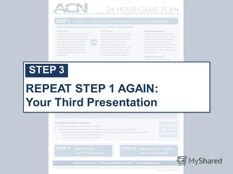 STEP 3 REPEAT STEP 1 AGAIN: Your Third Presentation