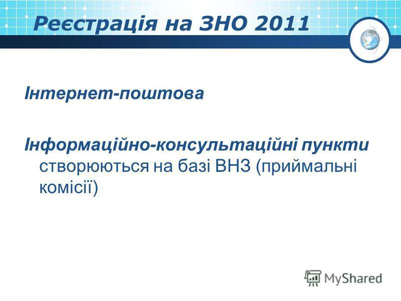 Реєстрація на ЗНО 2011 Інтернет-поштова Інформаційно-консультаційні пункти створюються на базі ВНЗ (приймальні комісії)