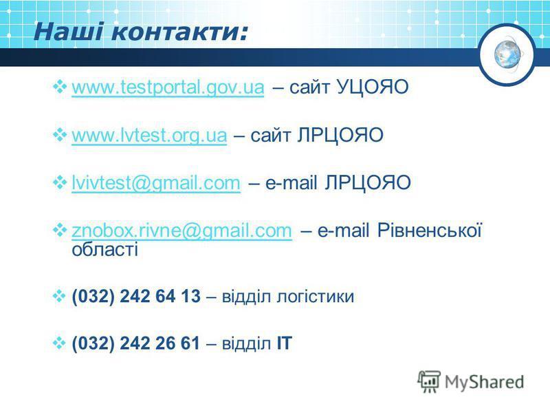 Наші контакти: www.testportal.gov.ua – сайт УЦОЯО www.testportal.gov.ua www.lvtest.org.ua – сайт ЛРЦОЯО www.lvtest.org.ua lvivtest@gmail.com – e-mail ЛРЦОЯО lvivtest@gmail.com znobox.rivne@gmail.com – e-mail Рівненської області znobox.rivne@gmail.com