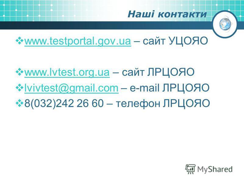 Наші контакти www.testportal.gov.ua – сайт УЦОЯО www.testportal.gov.ua www.lvtest.org.ua – сайт ЛРЦОЯО www.lvtest.org.ua lvivtest@gmail.com – e-mail ЛРЦОЯО lvivtest@gmail.com 8(032)242 26 60 – телефон ЛРЦОЯО