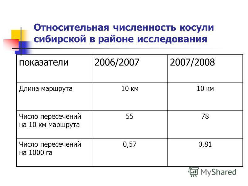 Относительная численность косули сибирской в районе исследования показатели 2006/20072007/2008 Длина маршрута 10 км Число пересечений на 10 км маршрута 5578 Число пересечений на 1000 га 0,570,81