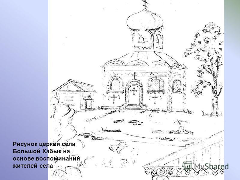 Рисунок церкви села Большой Хабык на основе воспоминаний жителей села