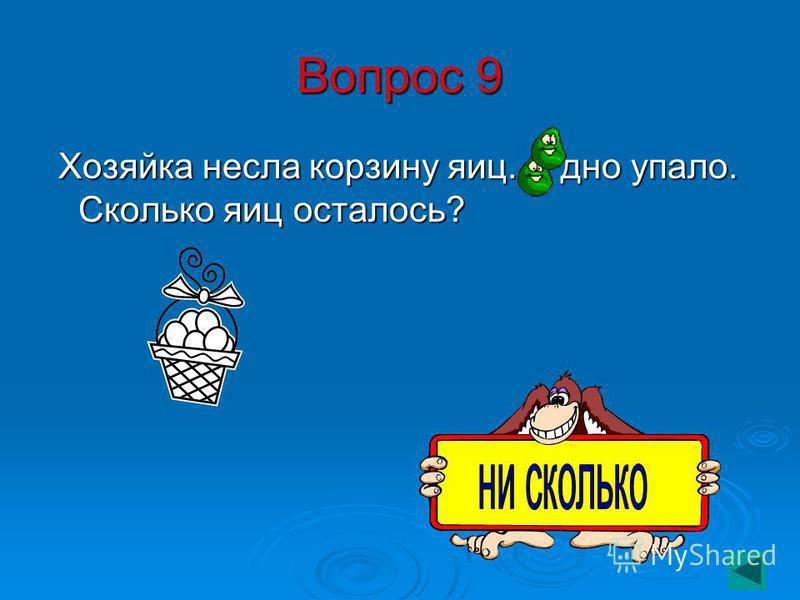 Вопрос 9 Хозяйка несла корзину яиц. А дно упало. Сколько яиц осталось? Хозяйка несла корзину яиц. А дно упало. Сколько яиц осталось?