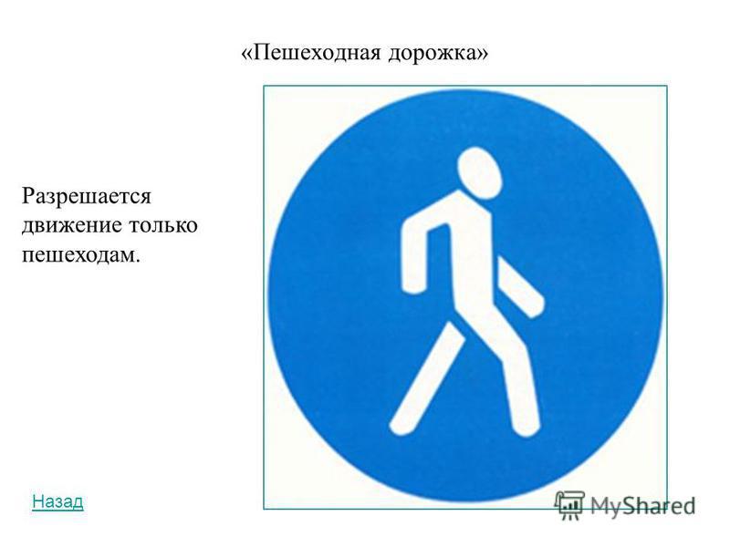 «Велосипедная дорожка» Разрешается движение только на велосипедах и мопедах. По велосипедной дорожке могут двигаться также пешеходы (при отсутствии тротуара или пешеходной дорожки). Назад