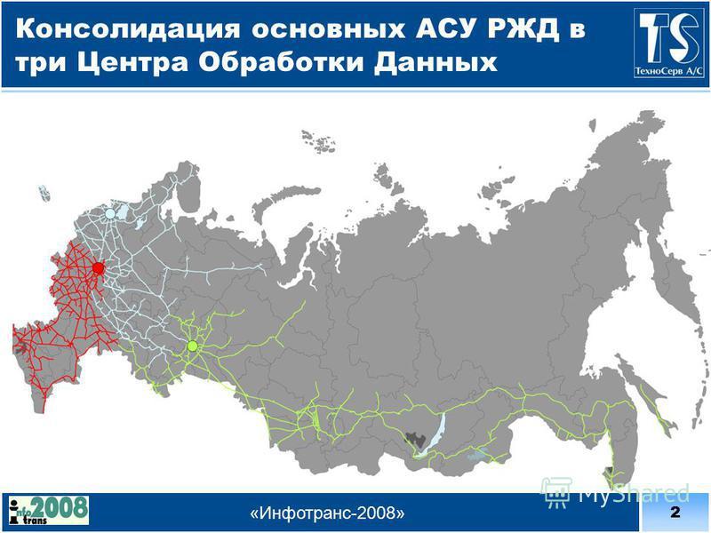 2 «Инфотранс-2008» Консолидация основных АСУ РЖД в три Центра Обработки Данных