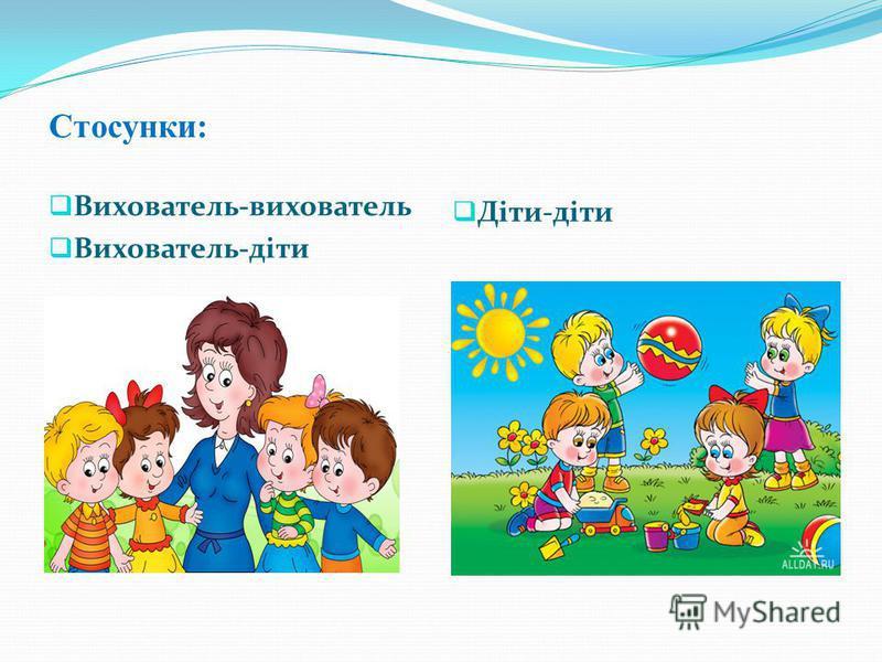 Стосунки: Вихователь-вихователь Вихователь-діти Діти-діти
