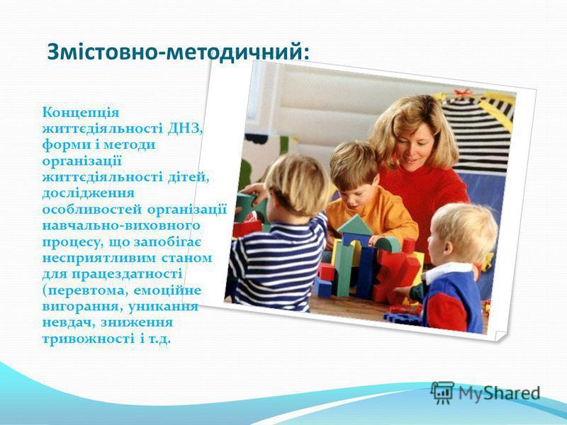 Змістовно-методичний: Концепція життєдіяльності ДНЗ, форми і методи організації життєдіяльності дітей, дослідження особливостей організації навчально-виховного процесу, що запобігає несприятливим станом для працездатності (перевтома, емоційне вигоран