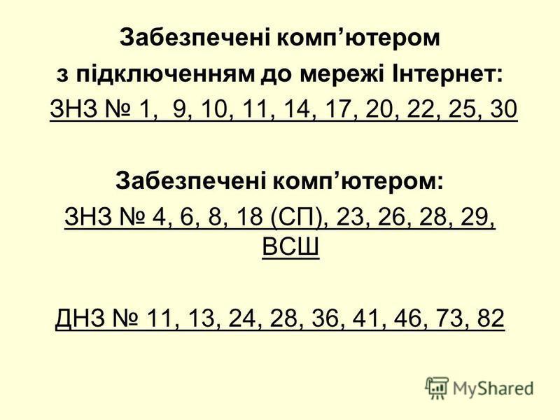 Забезпечені компютером з підключенням до мережі Інтернет: ЗНЗ 1, 9, 10, 11, 14, 17, 20, 22, 25, 30 Забезпечені компютером: ЗНЗ 4, 6, 8, 18 (СП), 23, 26, 28, 29, ВСШ ДНЗ 11, 13, 24, 28, 36, 41, 46, 73, 82
