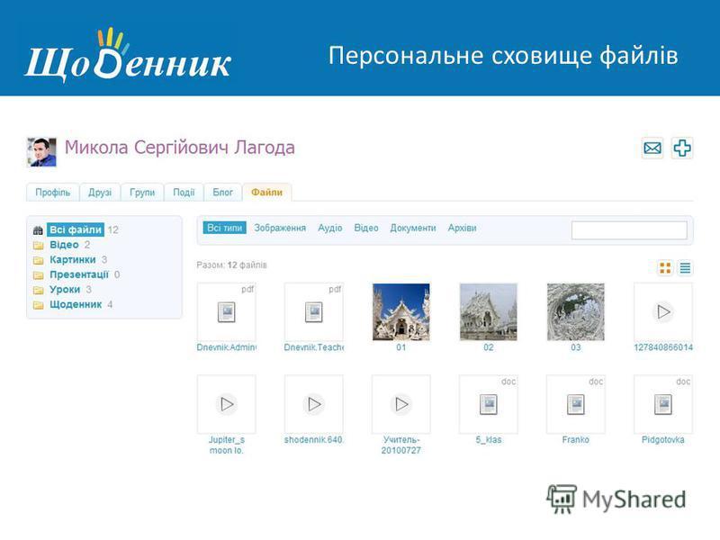Страница администрирования Персональне сховище файлів