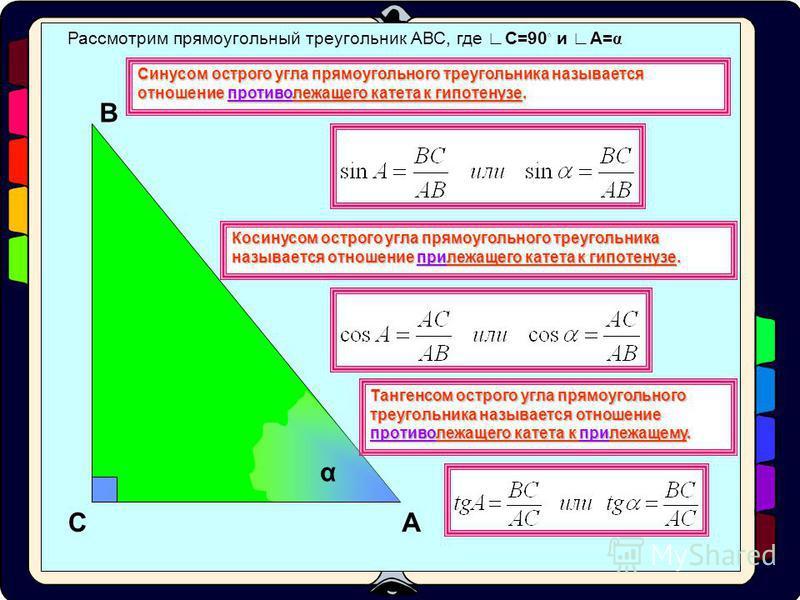 Рассмотрим прямоугольный треугольник АВС, где С=90 и А= α А В С α Катет ВС является противолежащим углу А. Катет АС является прилежащим к углу А. АВ - гипотенуза Работа с тренажером