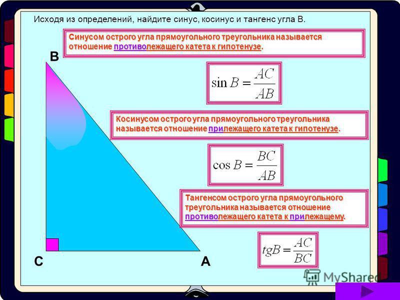 Рассмотрим прямоугольный треугольник АВС, где С=90 и А= α А В С α Синусом острого угла прямоугольного треугольника называется отношение противолежащего катета к гипотенузе. Косинусом острого угла прямоугольного треугольника называется отношение приле