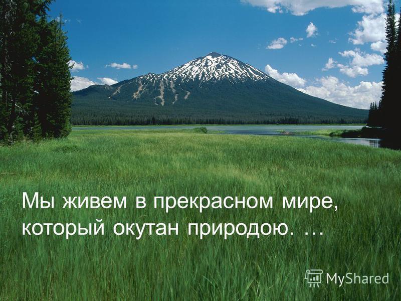 Мы живем в прекрасном мире, который окутан природою. …