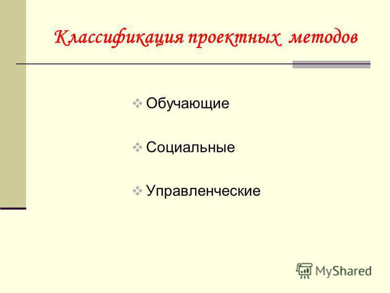 Классификация проектных методов Обучающие Социальные Управленческие