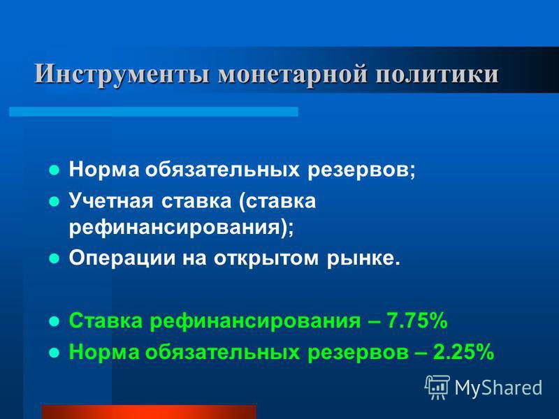 Инструменты монетарной политики Норма обязательных резервов; Учетная ставка (ставка рефинансирования); Операции на открытом рынке. Ставка рефинансирования – 7.75% Норма обязательных резервов – 2.25%