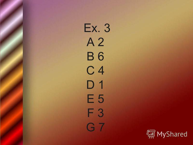 Ex. 3 A 2 B 6 C 4 D 1 E 5 F 3 G 7