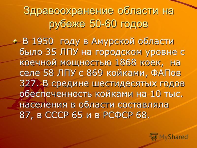 Здравоохранение области на рубеже 50-60 годов В 1950 году в Амурской области было 35 ЛПУ на городском уровне с коечной мощностью 1868 коек, на селе 58 ЛПУ с 869 койками, ФАПов 327. В средине шестидесятых годов обеспеченность койками на 10 тыс. населе