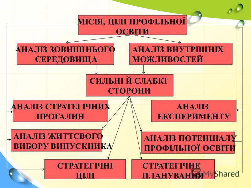 МІСІЯ, ЦІЛІ ПРОФІЛЬНОЇ ОСВІТИ АНАЛІЗ ЗОВНІШНЬОГО СЕРЕДОВИЩА АНАЛІЗ ВНУТРІШНІХ МОЖЛИВОСТЕЙ СИЛЬНІ Й СЛАБКІ СТОРОНИ АНАЛІЗ СТРАТЕГІЧНИХ ПРОГАЛИН АНАЛІЗ ЕКСПЕРИМЕНТУ АНАЛІЗ ЖИТТЄВОГО ВИБОРУ ВИПУСКНИКА АНАЛІЗ ПОТЕНЦІАЛУ ПРОФІЛЬНОЇ ОСВІТИ СТРАТЕГІЧНІ ЦІЛІ