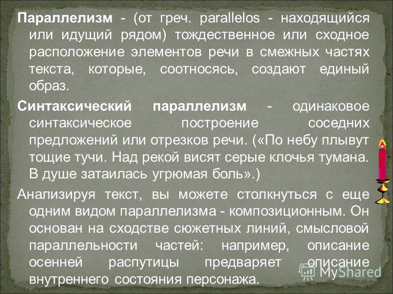 Параллелизм - (от греч. parallelos - находящийся или идущий рядом) тождественое или сходное расположение элементов речи в смежных частях текста, которые, соотносясь, создают единый образ. Синтаксический параллелизм - одинаковое синтаксическое построе