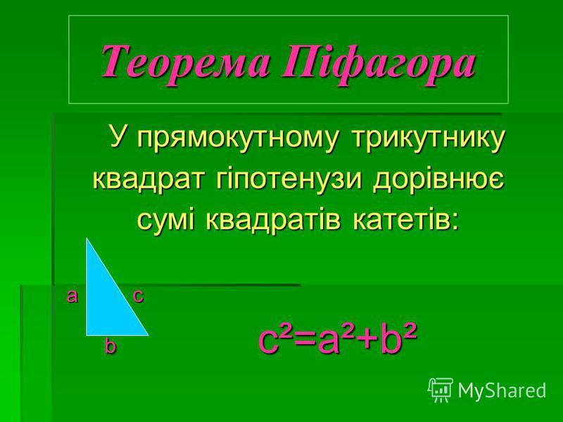 Теорема Піфагора У прямокутному трикутнику У прямокутному трикутнику квадрат гіпотенузи дорівнює сумі квадратів катетів: а c а c b c²=а²+b² b c²=а²+b²