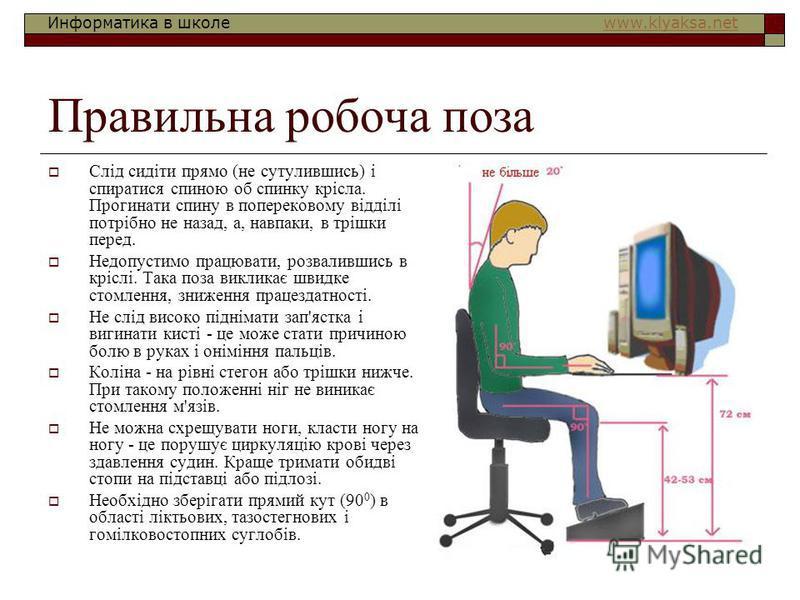Информатика в школе www.klyaksa.netwww.klyaksa.net Правильна робоча поза Слід сидіти прямо (не сутулившись) і спиратися спиною об спинку крісла. Прогинати спину в поперековому відділі потрібно не назад, а, навпаки, в трішки перед. Недопустимо працюва