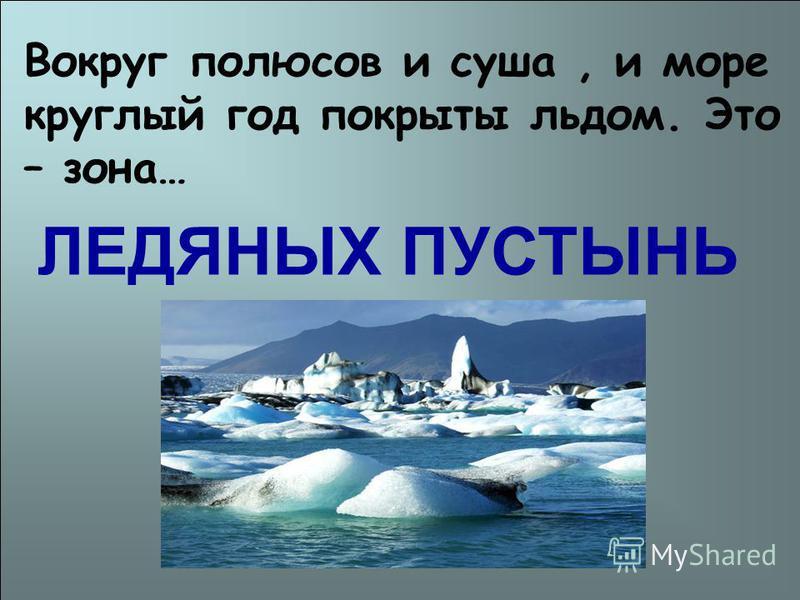 Вокруг полюсов и суша, и море круглый год покрыты льдом. Это – зона… ЛЕДЯНЫХ ПУСТЫНЬ
