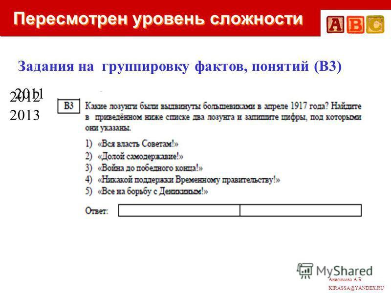 Анисимова А.Б. KIRASSA@YANDEX.RU Пересмотрен уровень сложности Задания на группировку фактов, понятий (В3) 2011 2012 2013