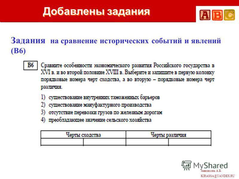 Анисимова А.Б. KIRASSA@YANDEX.RU Добавлены задания Задания на сравнение исторических событий и явлений (В6)