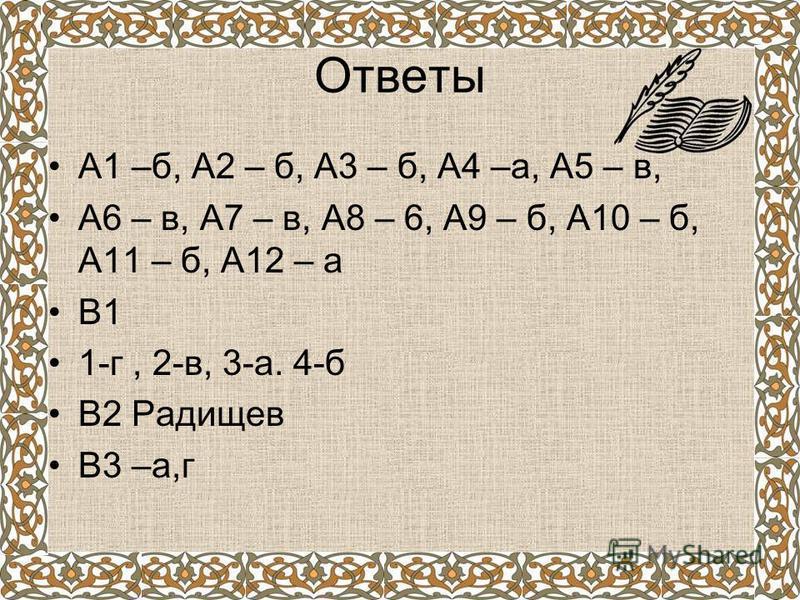 Ответы А1 –б, А2 – б, А3 – б, А4 –а, А5 – в, А6 – в, А7 – в, А8 – 6, А9 – б, А10 – б, А11 – б, А12 – а В1 1-г, 2-в, 3-а. 4-б В2 Радищев В3 –а,г