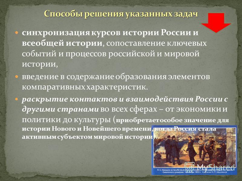 раскрытие своеобразия и неповторимости своеобразия и неповторимости российской истории, ее связи с ведущими процессами ее связи с ведущими процессами мировой истории.