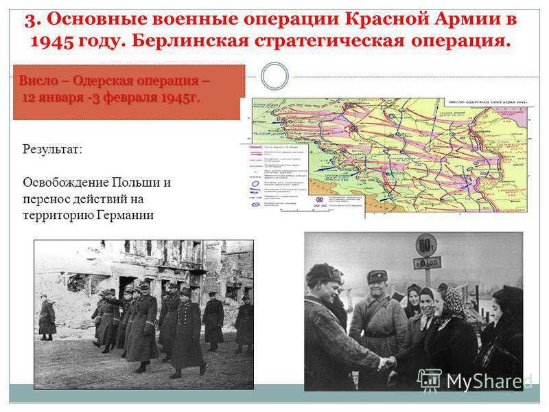 Висло – Одерская операция – 12 января -3 февраля 1945 г. 12 января -3 февраля 1945 г. Результат: Освобождение Польши и перенос действий на территорию Германии 3. Основные военные операции Красной Армии в 1945 году. Берлинская стратегическая операция.